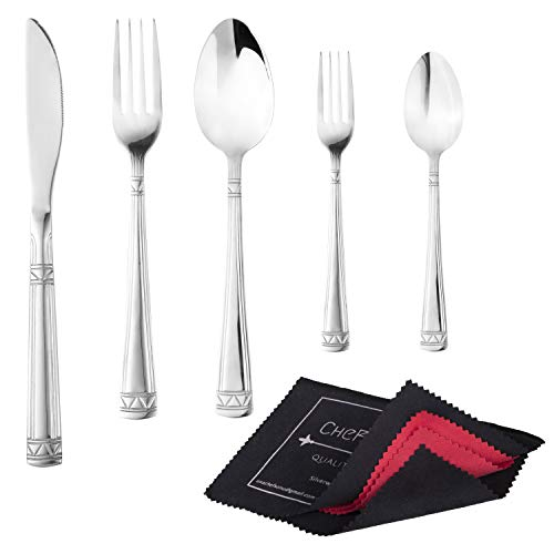 18/10 Stainless Steel 20-Piece Silverware Set for 4 + Premium Silverware Polishing Cloth | Dishwasher Safe | Fork, Spoon & Knife | Mirror Polished | Cooking & Eating Utensils By CheF SONU