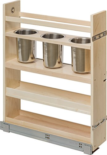 "Century Components CASCAN55PF Kitchen Base Cabinet Pull-Out Canister Organizer - 5-7/8""W x 26-3/4""H x 21-1/2""D - Baltic Birch - Blum Soft Close Slides"