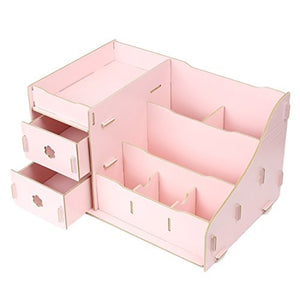 DealMux Wooden Cosmetic Makeup DIY Drawers Storage Box Case Organizer Pink