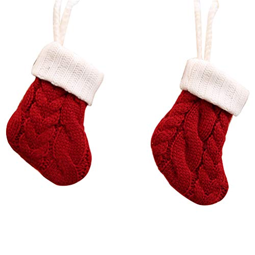 4Pcs Christmas Sock Party Decorations Tableware Cutlery Silverware Holders Candy Pouch Bag Hanging Mini Xmas Knitted Santa Sock