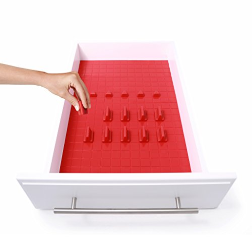 KMN Home DrawerDecor Customizable Organizer, Drawer and Shelf Cabinet Liners, Non Slip and Easy Clean, Deluxe Starter Kit, 16 Piece - Red