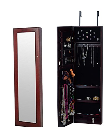 BTEXPERT HandMade Wooden Jewelry Armoire Cabinet Wall mount Over Door Hanger Storage Cheval Mirror Store Rings, Holder, Key lock Cherry