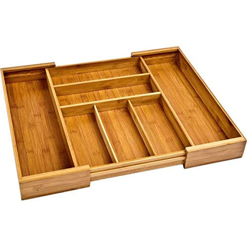 Kitchen Drawer Organizer Tray Silverware Bamboo Expandable Storage Utensil Divider