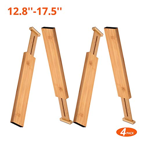 "100% Natural Bamboo Adjustable Short Size Kitchen Drawer Dividers(12.8""-17.5"") Pack of 4.by:Luckyshe"