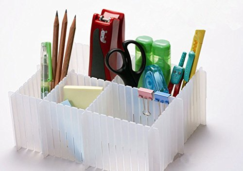 Hever Plastic Drawer Closet Grid Divider Organizer Container Home Storage Expandable Drawer Divider 4 pcs