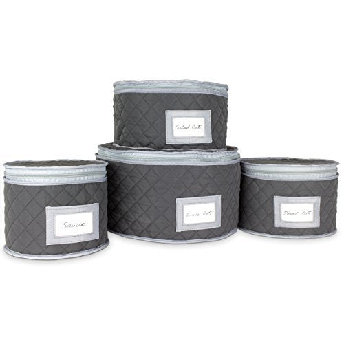 China Storage Case - Saucer or Small Plate Quilted Case - 7 inches diameter x 6 inches height - Gray - Includes 12 Felt Separators