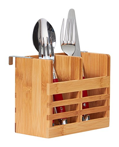 Home Intuition Bamboo Utensil Drying Rack Caddy Allows Air Dry for Silverware, Fits Dish Drying Rack
