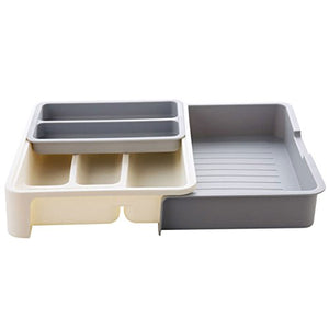 Levoberg Expandable Drawer Organizer Plastic Cutlery Trays Adjustable Kitchen Drawer Divider Office Drawer Organiser Trays