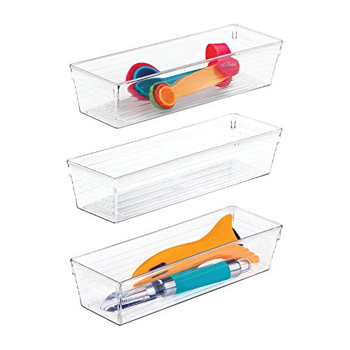 "iDesign Sierra Plastic Drawer Organizer, Storage Container for Silverware, Utensils, Kitchen Gadgets in Pantry, Cabinets, Countertops, 3"" x 9"" x 2"", Set of 3 - Clear"