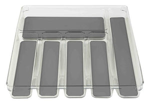 "Home Basics PB49748 12"" x 15"" Plastic Rubber Liner Drawer Organizer, One Size, Clear"