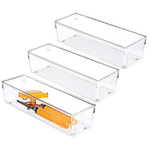 "Kitchen Drawer Organizer for Silverware, Spatulas, Gadgets - Pack of 3, 4"" x 12"" x 3"", Clear"
