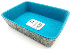 Welaxy Felt Office Drawer Organizer bin Tray Drawer Divider Small Boxes for organizing Drawers (Turquoise)