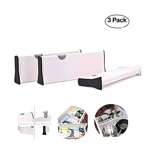 Aolvo Drawer Dividers, Durable Plastic Adjustable Drawer Organizer Desk Bedroom Bathroom Closet Office Kitchen Drawer Storage,White 4inches deep (large 3pack)