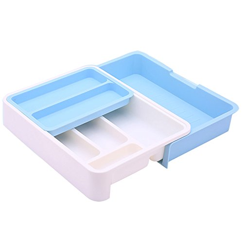 HornTide 3-in-1 Drawer Tray Expandable Utensil Storage Organizer Plastic Tableware Holder for Cutlery Receive and More - Blue