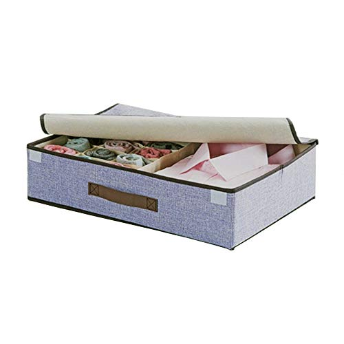 Foldable Underwear Organizer Closet Socks Storage Box, Collapsible Drawer Organizer, Storage Bins for Underwear, Bras, Socks, Ties (Beige) (Purple)