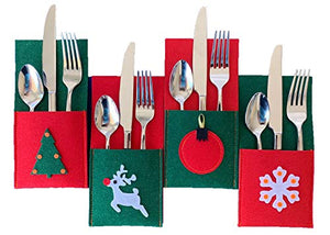 Christmas Silverware Holders for Festive Holiday Entertaining - 8 Pack of Sturdy Felt, Many Table Decoration Ideas, Use for Place Settings, Candy, Notes from Santa