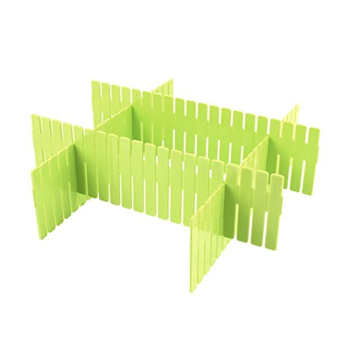 4pcs DIY Plastic Grid Drawer Divider - Adjustable Household Storage - Sub-grid Finishing Shelves for Home Tidy Closet Stationary Makeup Socks Underwear Scarves Organizer (Green)