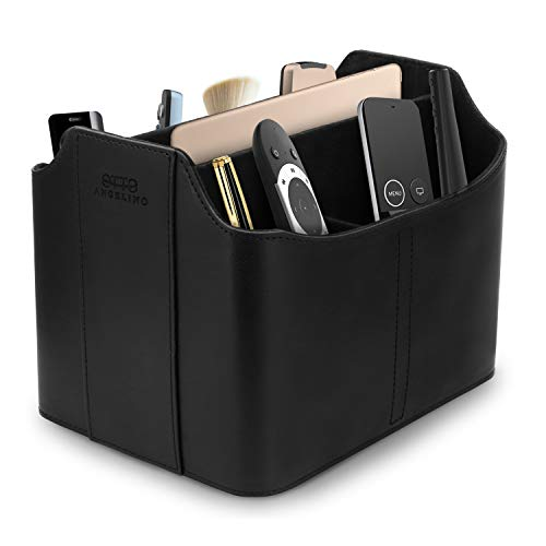 Londo Leather Remote Control Organizer and Caddy with Tablet Slot - Black