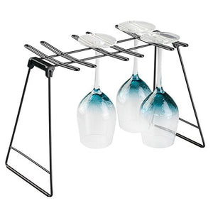 mDesign Freestanding Foldable Wine Glass and Stemware Drying and Display Storage Rack for Kitchen Countertop - Holds 6 Glasses, Non-Skid Feet, Folds Flat for Compact Storage - Matte Black