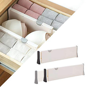 Adjustable Dresser Drawer dividers Organizers, Plastic Expandable Drawer Organization Separators for Kitchen, Bedroom, Closet, Bathroom, Clothing, Cabinet, Clothes, Underwear, Office, 2 Pack X-Large