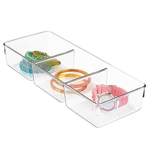InterDesign Linus Dresser and Vanity Drawer Organizer, 13-inch by 5-inch by 2.25-inch, Clear