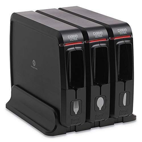 "Dixie Ultra SmartStock Wrapped Cutlery Dispenser, 12.44"" x 11.17"" x 10 1/2"", Black"