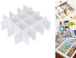 Drawer Organizers DIY Grid Dividers Wood-Plastic for Closet Underwear Ties Socks Kitchen Bureau Dresser Charging Line White (8Pack)