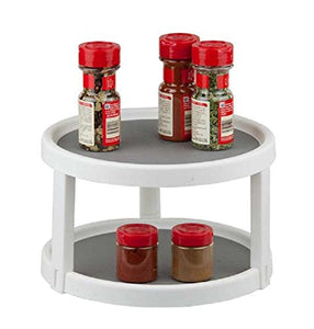 Deluxe 2 Tier Lazy Susan Turnable Gripped Cabinet Spice Rack Organizer
