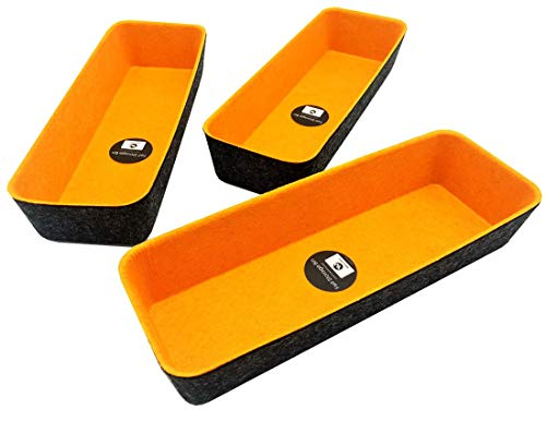 Welaxy Felt Drawer Organizer Trays Desktop Organizer Bins Storage bin,Long Shape (Pumpkin x3)