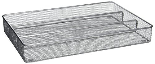Honey-Can-Do KCH-02157 Steel Mesh 3-Compartment Cutlery Utensil Organizer, Silver