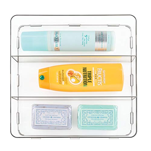 iDesign Clarity BPA-Free Plastic Interlocking Divided Organizer Storage Tray for Drawers, Bathroom, Countertop, Vanity - 3 Compartment, Clear