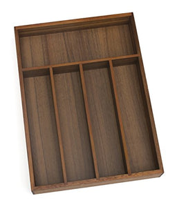 "Lipper International 1076 Acacia Wood Flatware Organizer with 5 Compartments, 10-1/4"" x 14"" x 2"""