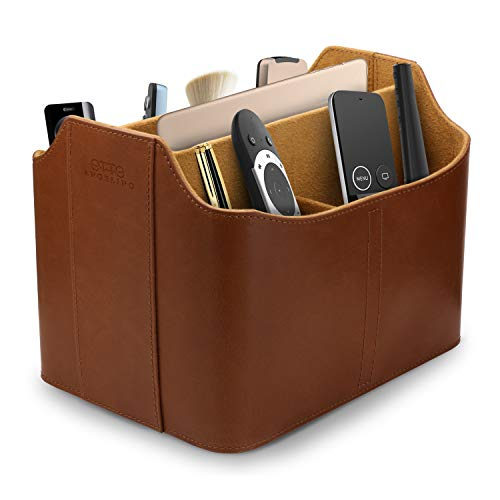 Londo Leather Remote Control Organizer and Caddy with Tablet Slot - Light Brown
