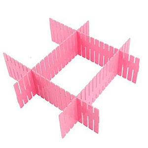 Woreach 8pcs DIY Plastic Grid Drawer Divider, Adjustable Drawer Divider Pink Closet Organizers for Makeup Socks Underwear Scarves