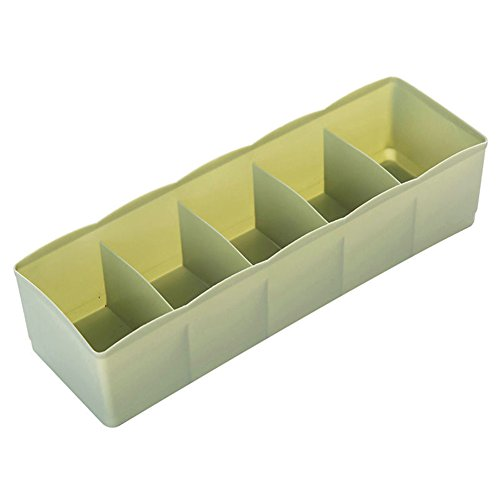 Gilroy 5 Compartments Plastic Cloth Storage Box Tie Bra Socks Underwear Drawer Organizer