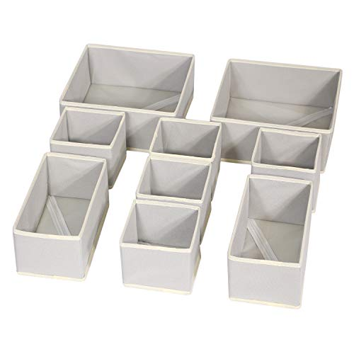 DIOMMELL Foldable Cloth Storage Box Closet Dresser Drawer Organizer Dividers Fabric Baskets Bins Containers for Baby Clothes Underwear Bras Socks Lingerie Clothing,Set of 9 Grey 225