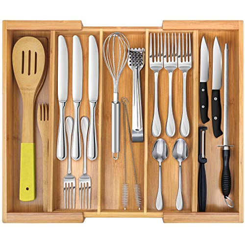 Expandable Cutlery Tray & Utensils Drawer Organizer for Silverware, Flatware Organizer with 5 Compartments & Kitchen Drawer Storage with Bamboo- by Ybj-ake
