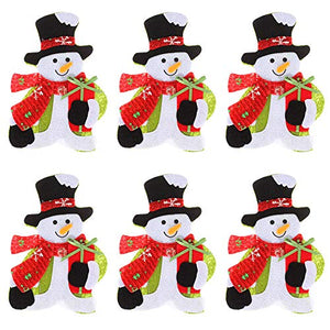 amorus 6 Pieces Christmas Silverware Holders Pockets Cute Kitchen Table Decoration Supplies - Snowman
