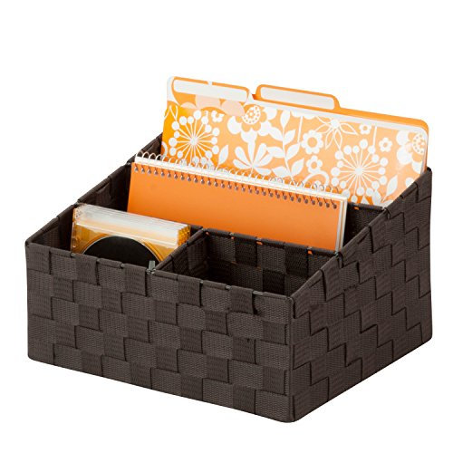 "Honey-Can-Do OFC-03611 Woven Mail and File Desk Organizer, 12 x 10.25 x 7"", Espresso Brown"