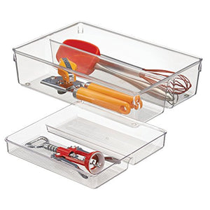 iDesign Linus 2-Piece Kitchen Drawer Organizer for Kitchen Utensils and Tools - Clear