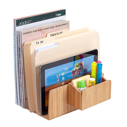 Bamboo Desktop File Folder Paper Tray, 5 – Slot, Plus Caddy Combo for pens, highlighters, notepads, and Small Office Supply Storage