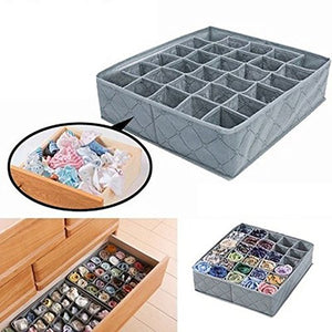 30 Cells Storage Box, Flodable Non-Woven Fabric Storage Box, Underwear Socks Drawer Organizer Storage Box for Thin Socks Closet Organizers Dividers Storage(Gray)