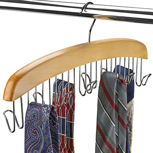 FLORIDA BRANDS Scarf and Tie Hanger - Closet Organizer and 12 Hook Wooden Tie Rack Hanger for Space Saving Solution and Perfect Space Saving Closet Makeover, Natural Color