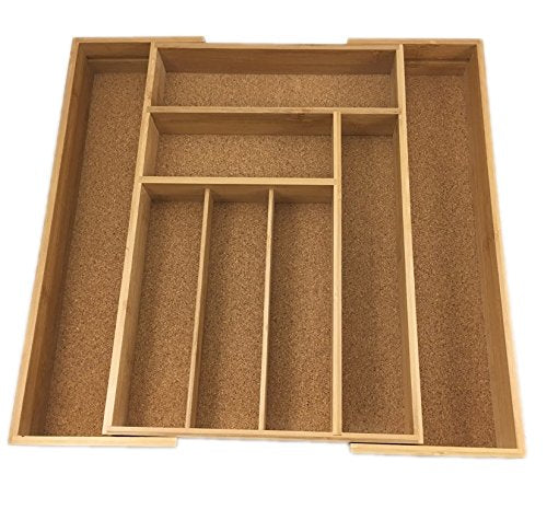 Expandable Bamboo Drawer Organizer Cork Lined Kitchen Cutlery Tray