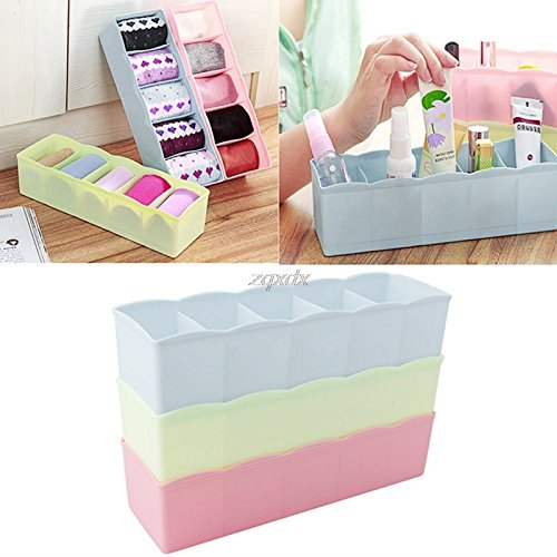 Hariier 5 Unit Plastic Underwear Bras Sock Ties Organizer Storag e Bo x Desk Drawer Z11 Drop ship