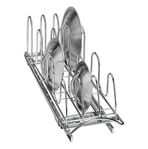 Lynk Professional Roll Out Pan Lid Holder and Pull Out Kitchen Cabinet Organizer Rack, 7.25w x 21d x 9h -inch, Chrome
