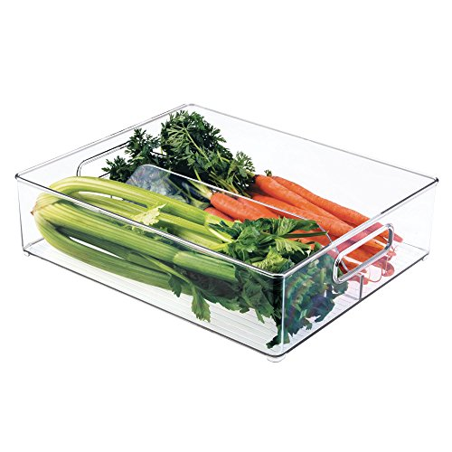 "iDesign Divided Plastic Storage Organizer Bin Tote with Handles for Kitchen, Fridge, Freezer, Pantry, Under Sink, and Cabinet Organization, BPA-Free, 12"" x 4"" x 14.5"", Clear"