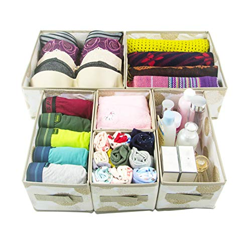 Antoforest Foldable Storage Bin Cube Box Dresser Drawers Organizer for Underwear Bras Socks Tie Scarf Cosmetic Set of 6, White and Beige