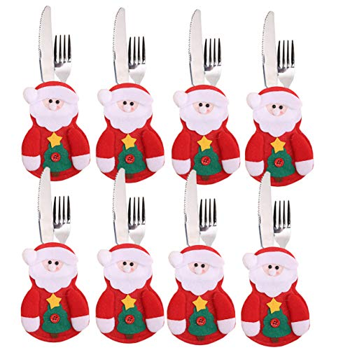 Christmas Silverware Holder Snowman Dinner Flatware Holders Knife and Fork Bags Covers for Xmas Party Pack of 8 (Santa Claus)