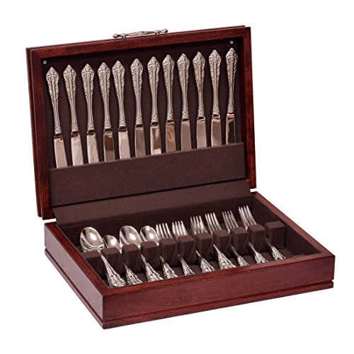 American Chest F00M Traditions Flatware Chest, Solid American Cherry Hardwood with Rich Mahogany Finish & Anti-Tarnish Lining, Multicolor